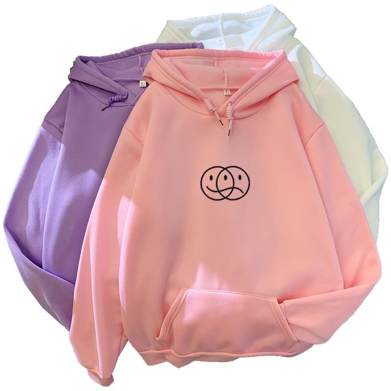 Korean Streetwear Sweatshirt Men Women Casual Pullover Hip Hop Long Sleeve Smile Sad Face Line Print Sport swear Tops Hoodies 1