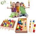 Montessori für kid Kinder Pädagogisches spielzeug holz bunte form stick Perlen Block spielzeug Klassische Spiele spielzeug geschenke für baby ZXH