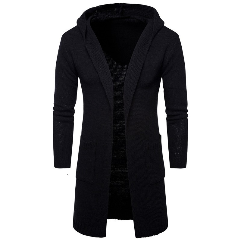 Fashion Mens Hooded Sweater Cardigan Casual Outerwear Long Coat Grey Black Classic Slim Fit Knitted Long Sleeve Sueter Hombre