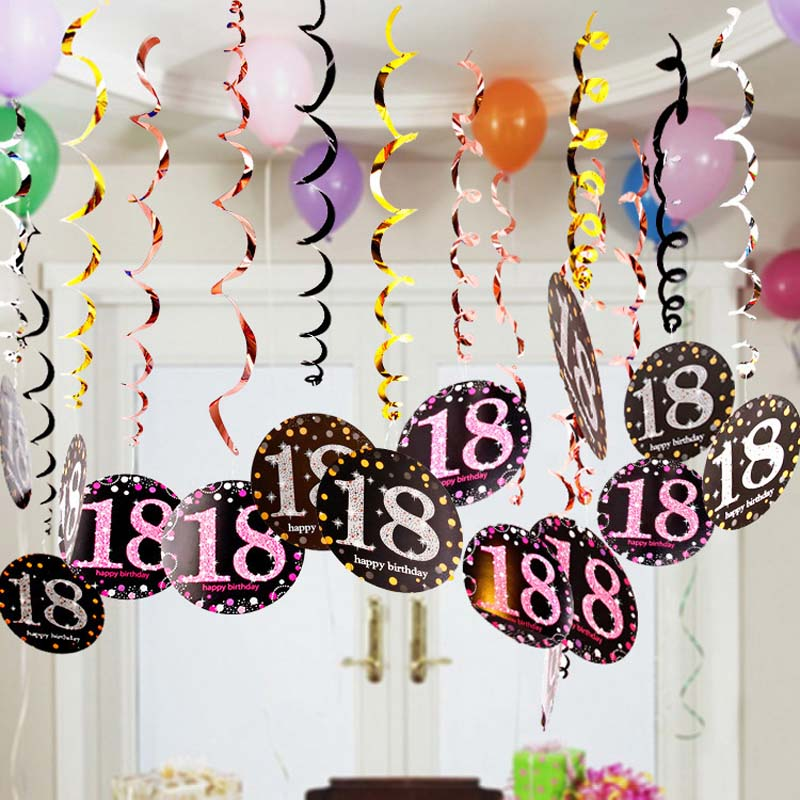 6pcs PVC <font><b>Happy</b></font> <font><b>Birthday</b></font> Ceiling Hanging Swirls 18 21 30 40 50 <font><b>60</b></font> 70 Years Old <font><b>Birthday</b></font> Party Decorations Adult Party Supplies image