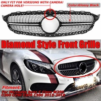 W205 Diamond Grille Car Front Bumper Grille Grill For Mercedes For Benz C Class W205 C200 C250 C300 C350 2015 2016 2017 2018