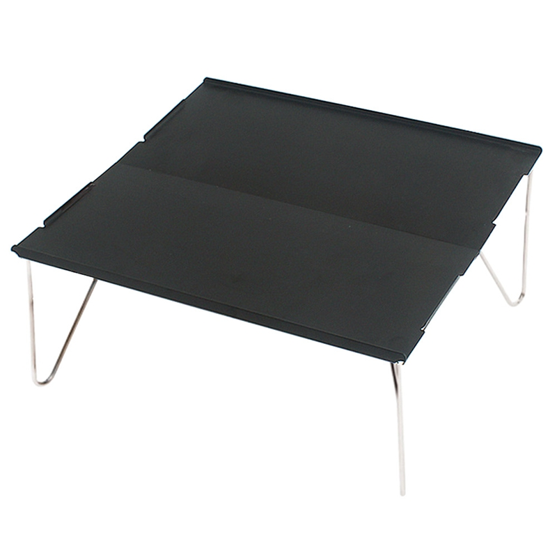 Picnic Mini Lightweight Durable Camping Furniture Portable Outdoor Hiking Single Desk Aluminum Plate Folding Table Barbecue(Blac