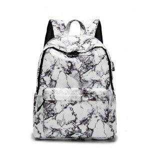 Большой дорожный рюкзак с мрамором 13,3, 14, 15,6 дюйма, Женский usb-рюкзак для школы, сумки для подростков, компьютерная посылка с мраморным узором