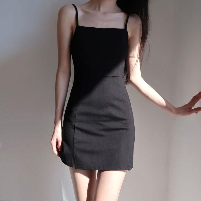 Women Sleeveless Dress Slash Neck Backless Mini Spaghetti Strap Black Sexy Retro Abdomen Slim Shaped Mature Simple Korean Style 4
