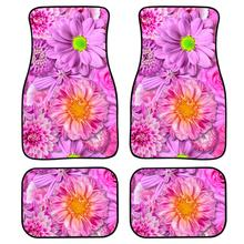 INSTANTARTS Floor Mats for Car Tropical Flower Plants Printed 4pcs/Set Truck Doormat Anti-Slip Carpets