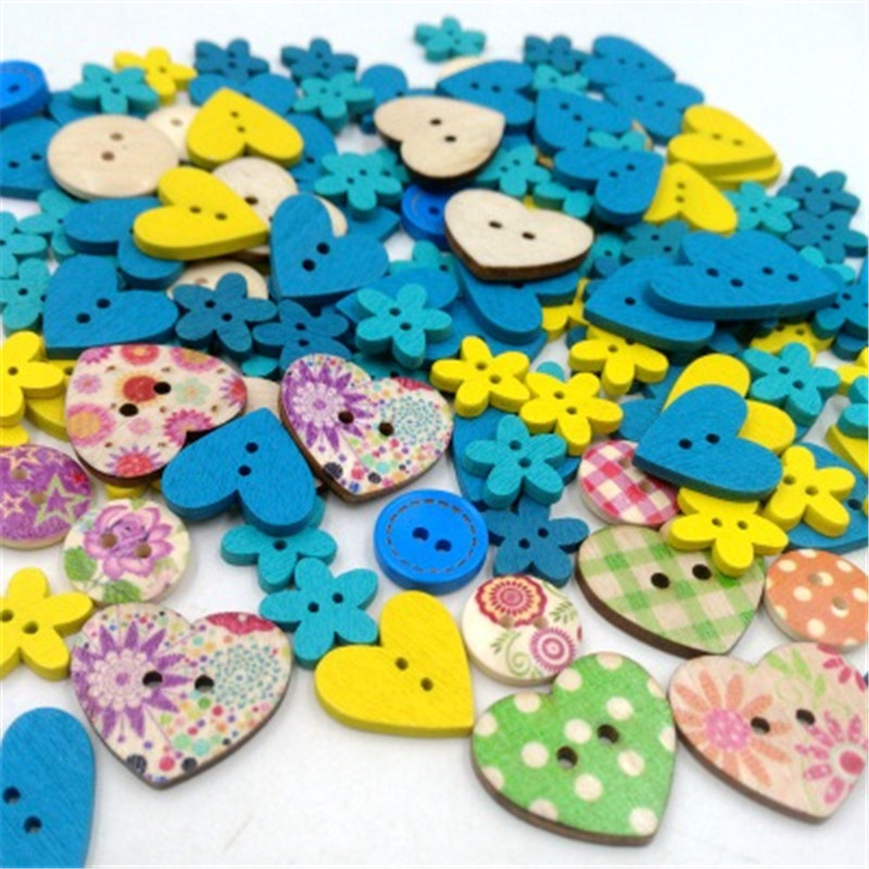 Love flower combination button color wooden clothing accessories childrens shirt handmade DIY supplies