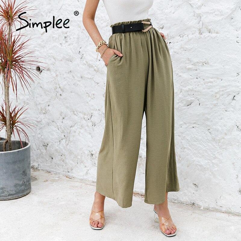 Simplee cor sólida cintura alta ampla perna calças femininas soltas casuais calças de verão clássico babados macio longo bottoms femininos