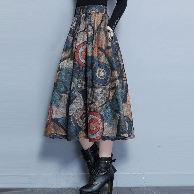 2019 Winter Maxi Woolen Skirt Women Retro Thick High Waist Long Skirt Faldas Big Swing Pleated Prints Wool Skirts Women