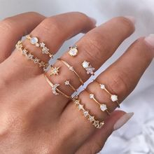Vintage Gold Color Crystal Star Moon Rings Set For Women Boho Knuckle Finger Ring Ring