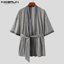 INCERUN Men Sleep Tops Patchwork Pyjamas Short Sleeve Open Stitch Leisure Homewear Cozy Sleepwear Men Nightwear With Belt S-5XL