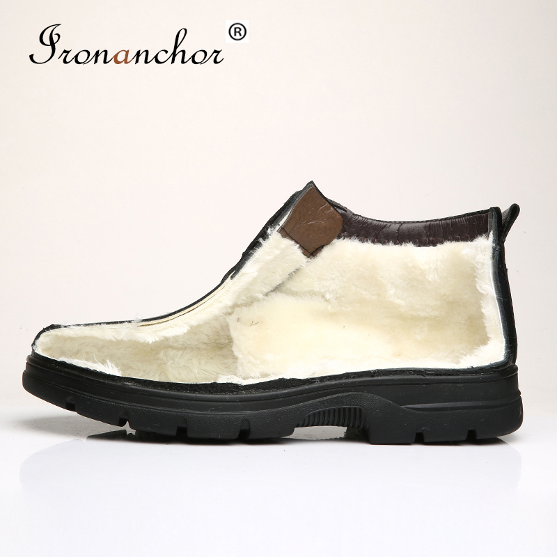Size 38~48 Winter Men Boots Snow 2019 Genuine Leather Add Fur Warm Male Winter Shoes #MHS10861