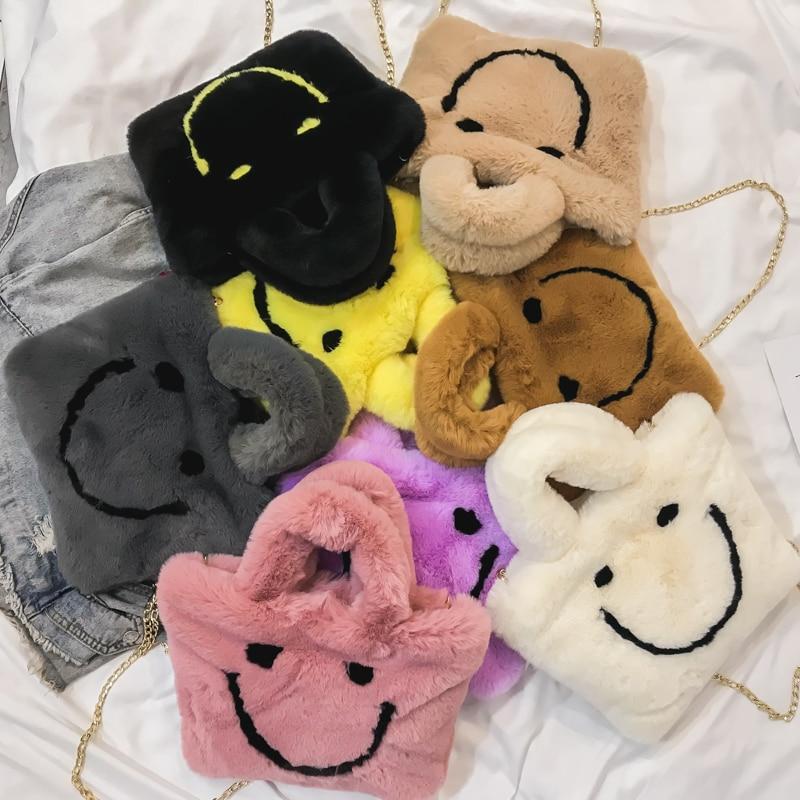 Women Aplush Smiley Handbag Buckle Shoulder Bag Cute Soft Ladies Chainladies Faux Fur Bag Female Party Little GirlChristmas Gift