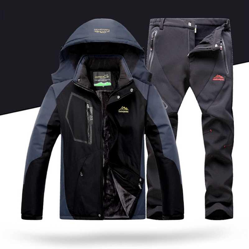Ski Musim Dingin untuk Pria Jaket Ski Celana Set Ski Tahan Air Windproof Menebal Hangat Salju Pakaian untuk Pria
