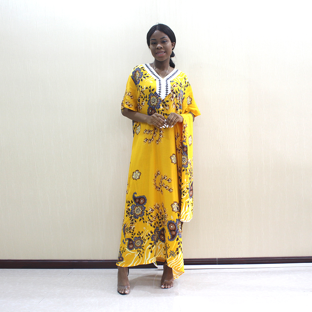 2019 African Newest Arrivals Fashion African Dashiki Appliques Floral Printed Yellow Pure Cotton Short Sleeve Dress With Scarf
