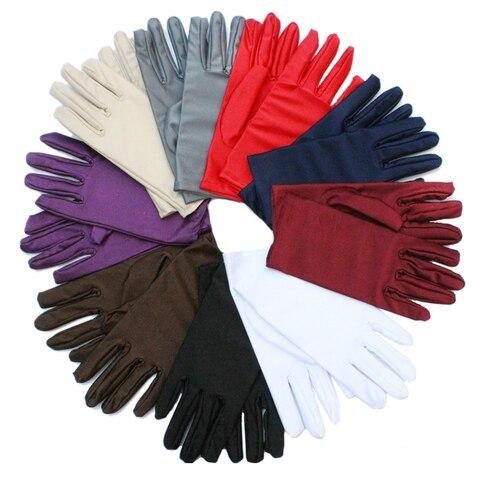 1 Pair Spring Summer Spandex Gloves women Black White Etiquette Thin Stretch Gloves Dance Tight White Jewelry Gloves Pakistan