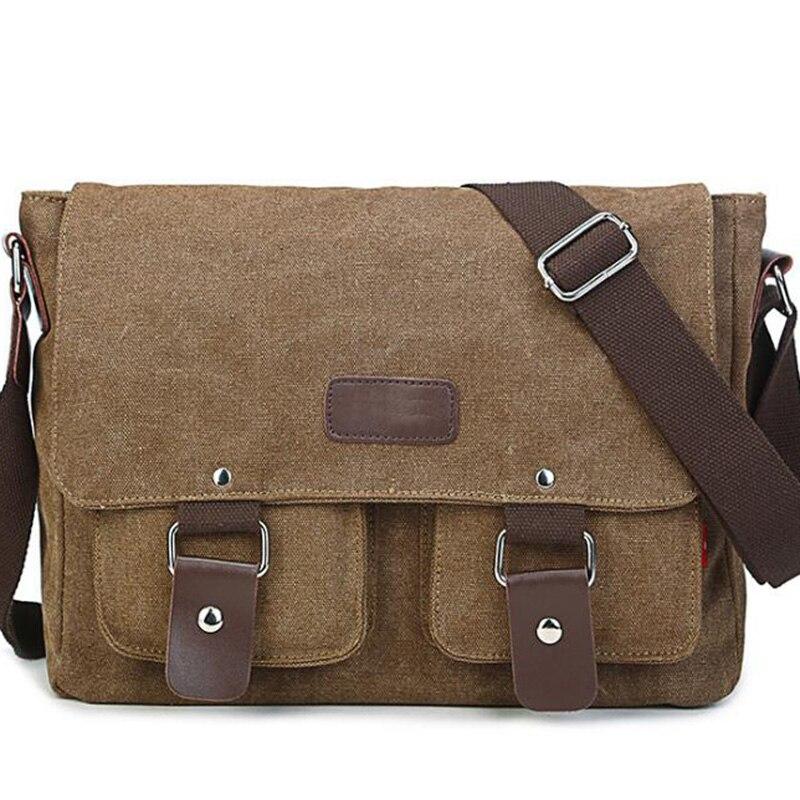 Canvas Briefcase Laptop-Bag Messenger-Bag Shoulder-Canvas-Bag Business Men's Casual New