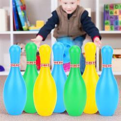 Jogo de boliche esportes 18cm crianças brinquedos educativos bola e pinos boliche brinquedos plástico gutterball engraçado boliche (cor aleatória)