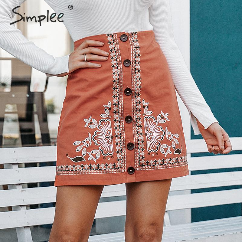 Simplee Enthic vintage floral embroidery women short skirt A line button female mini skirt High waist ladies bohemian skirt 2019-in Skirts from Women's Clothing
