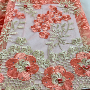 Image 2 - Nigerian Lace Fabric 2020 High Quality Lace Beaded Lace Fabric Wedding Pink African With Beads Nigerian French Lace Fabric LHX07