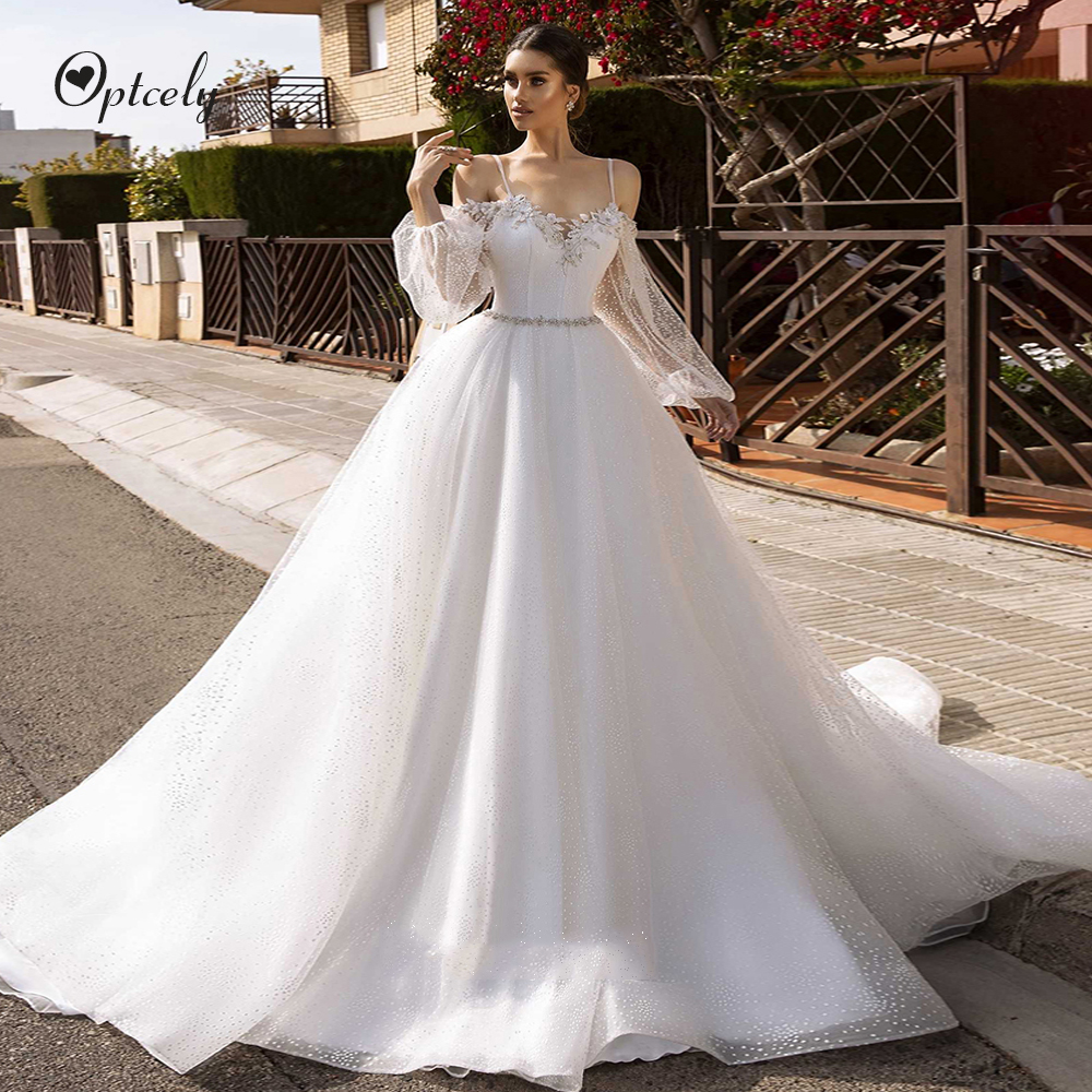 Optcely Beautiful Sexy Spaghetti Sweetheart Neck Puff Sleeves A-line Backless Wedding Dress 2019 Princess Gowns Vestido De Noiva