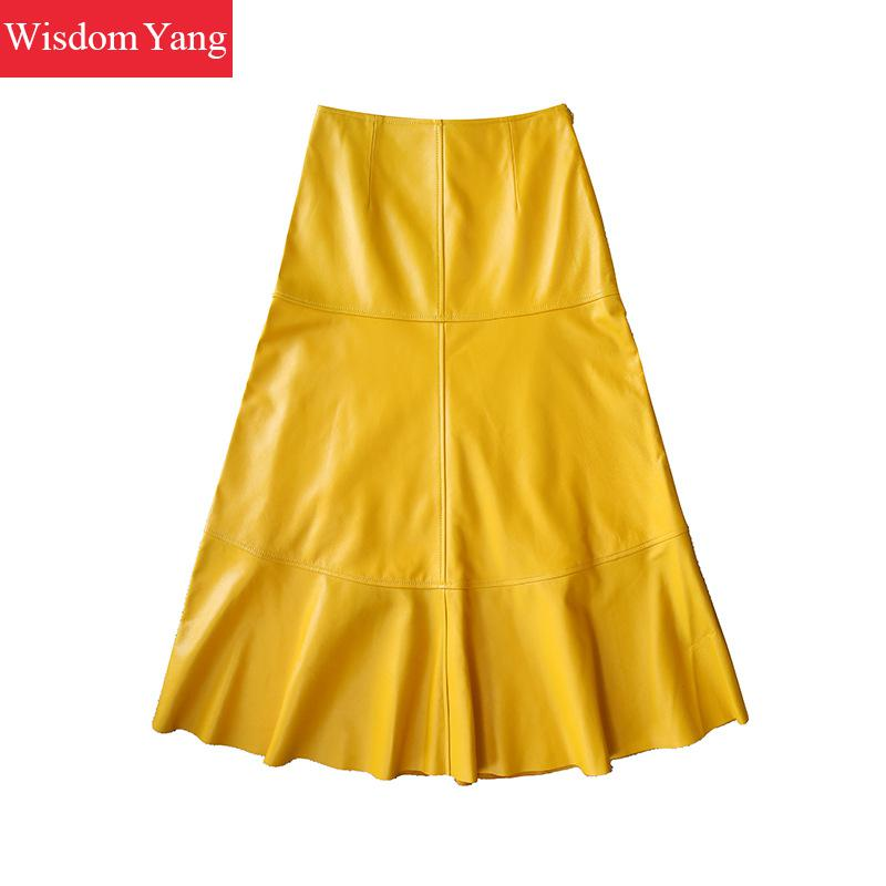 Autumn Sheep Skin Genuine Leather Midi Long Skirts High Waist Yellow Womens Party Ladies Sexy Mermaid Flare Wrap Skirt Clothing