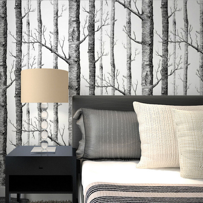 Rustic Wood Grain Wallpaper Black White Birch Tree Forest Wall Stickers Contact Paper Tree Branches Trunk Wallpaper Wall Decor