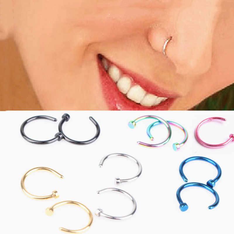 מזויף מחץ רפואי טיטניום האף טבעת כסף זהב גוף קליפ חישוק לנשים מחץ פירסינג קליפ תכשיטי מתנת 1pc