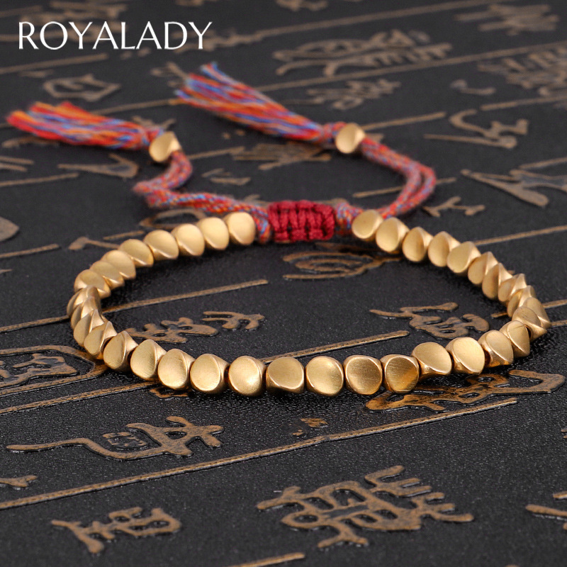 Tibetan Handmade Buddhist Braided Copper Beads Lucky Rope Charms Bracelet & Bangles For Women Men Thread Bracelets Jewelry Gift