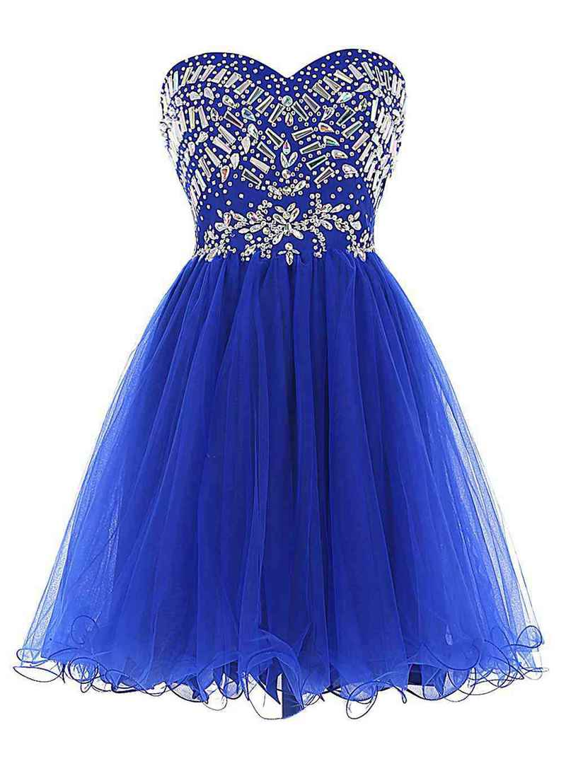 Short Blue Sweetheart Backless Homecoming Dress Rhinestone Piping Dress Graduation Ceremony A-Line Sleeveless Tulle Prom Gown