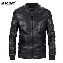 AKSR New Arrive Mens Autumn PU Leather Jacket Motorcycle Slim Jackets Chaqueta Cuero Hombre Coats