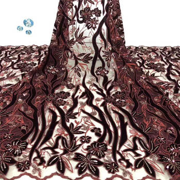 Latest Nigerian Lace Fabric velvet 2019 High Quality Lace 3d French Bridal sequins Lace Fabric For African Lace Matrial 5yards
