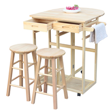 Semicircle Solid Wood Folding Dining Cart