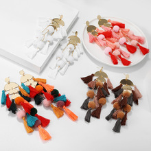 Bohemian Big Tassel Long Drop Earrings for Women Beach Style Cotton Silk Fabric Fringe Statement 2020 Aretes