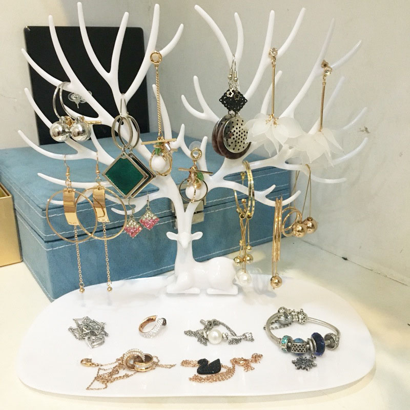 Deer Plastic Antler Shaped Jewelry Box Organizer Ring Necklace Pendant Bracelet Jewelry Display Stand Tray Tree Rack Holder A66