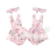0-24M Newborn Infant Baby Girls Flower Lace Romper Ruffles J