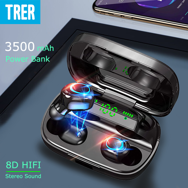 Wireless Bluetooth Earphones TWS 5 0 Touch Control in-Ear Earphone Fone LED Display Earbuds ecouteur with 3500 mah Power Bank