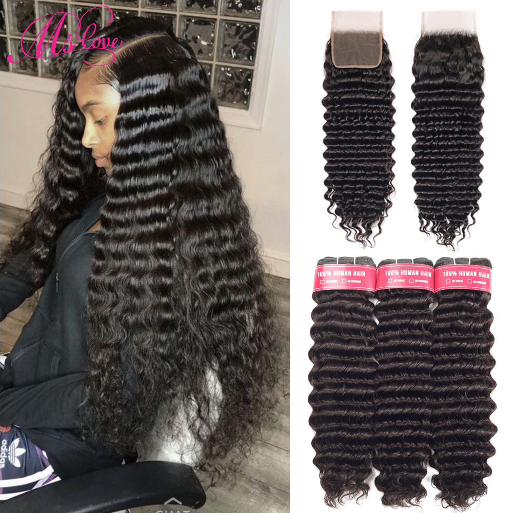 Deep Wave Bundles With Closure Brazilian Hair Bundles With Lace Closure Human Hair 3 Bundles With Closure  Ms Love Non Remy