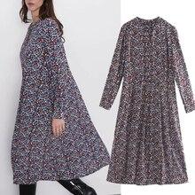 2019 autumn dress women vestidos england style vintage floral print loose o-neck de fiesta noche maxi