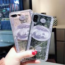 America Dollar Trend Glitter Quicksand Case for iPhone X XR XS MAX 6S 6 7 8 Plus Luxury personality dollar Phone Cover Coque(China)