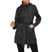 Laamei damskie kurtki turystyczne podstawowe wodoodporne płaszcze outdoorowe damskie kurtki wiatrówki z kapturem i kurtki z pasem tanie tanio Długi Luźne V-neck zipper Na co dzień Pełna REGULAR Women Jackets STANDARD NYLON Skrzydeł Kieszenie Stałe China Stocks USA Stocks
