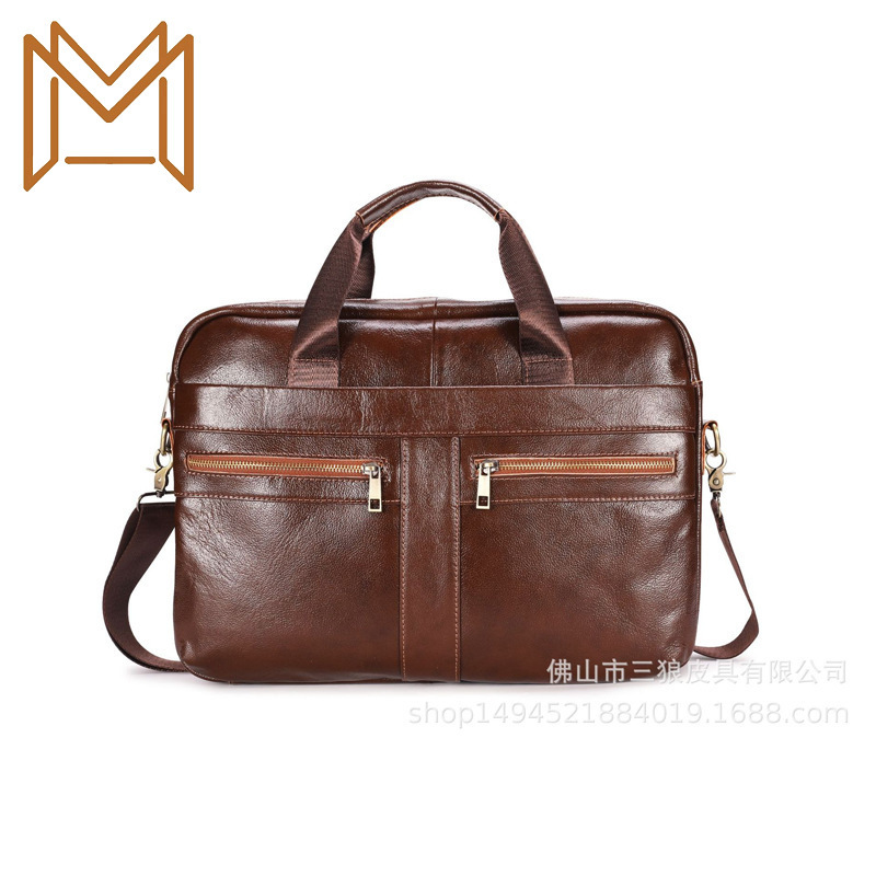 Genuine Leather Computer Layer Cowhide Portable Male Package Leisure Time Man Briefcase Business Affairs Package