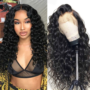 Cheap Lace Front Human Hair Wigs парики женские Curly Brazilian Loose Wave Lace Frontal Wigs for Black Women cosplay donna(China)