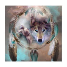 35*35cm Wolf Pattern DIY Diamond Painting Cross Stitch Full Round Drill Diamond Embroidery Sticker Decor Drop Shipping new full 5d diy daimond painting cross switch hedgehog taxi 3d diamond square round rhinestones embroidery
