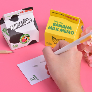 300 Sheets Creative Kawaii Milk Memo Note Pad Message Paper Marker Tab Notepads School Office Stationery