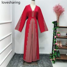 2019 LR259 Express Fashion atmosphere Middle East Dubai Oman Pure Color Diamond robe dress(China)