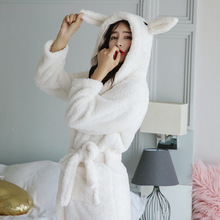 Autumn winter lambskin thick coral ladies fleece pajamas rabbit cute cartoon plush hooded nightgown women casual robes