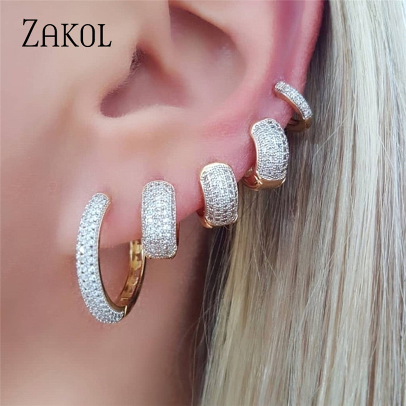ZAKOL Luxury Round AAA Cubic Zirconia Micro Inlay Big Circle Hoop Earrings For Fashion Women Wedding Party Jewelry FSEP3012