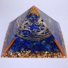 3.74inch Reiki Orgonite Pyramid Meditation Healing Lapis Lazuli Orgone Pyramid Chakra Natural Stone Crystal Resin Ornament Decor