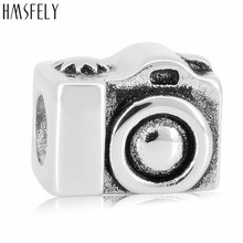 HMSFELY European Charm Beads For DIY Charms Bracelet Jewelry making Accessories Bead 316l Stainless Steel Camera 4pcs