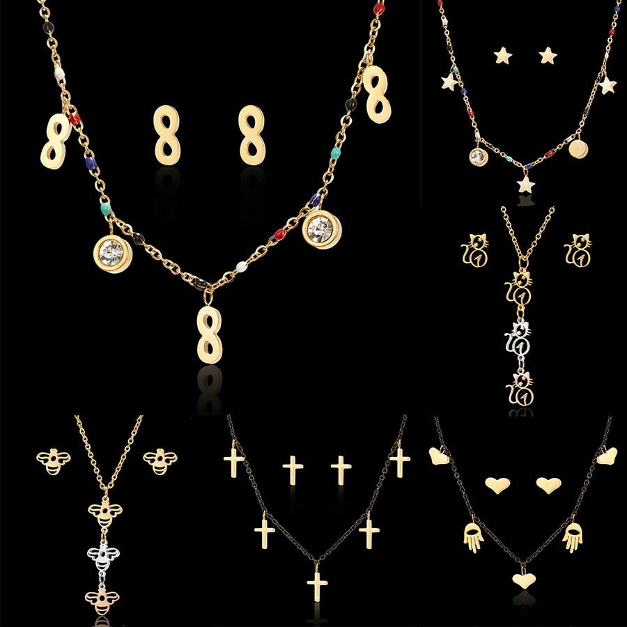 3 Colors Hollow Cat Kitten Bees Infinite 8 Love Heart Stars Cross Pendant Necklace Earrings Set Stainless Steel Jewelry Sets